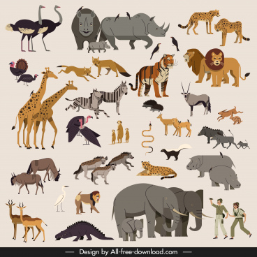 africa design elements animals species collection explorer icons