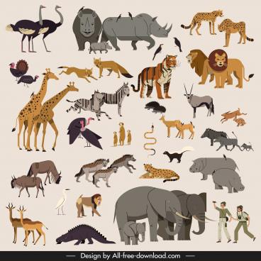 africa design elements animals species collection explorer icons