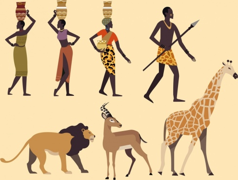 africa design elements tribal human animals icons