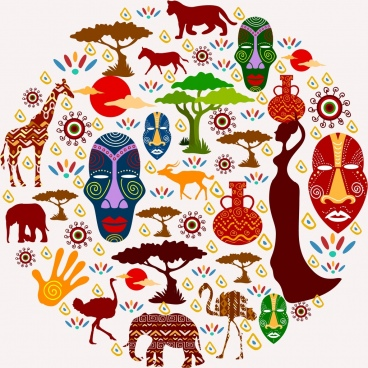 africa design elements various flat colored symbols