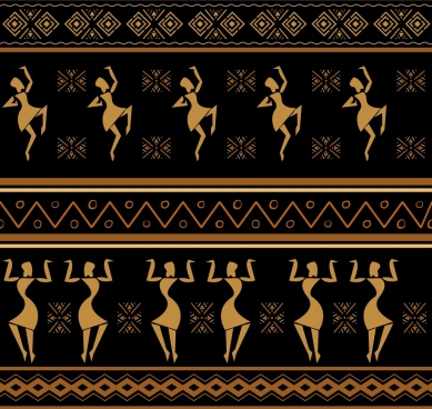 africa pattern human dancing decor classical symmetric design