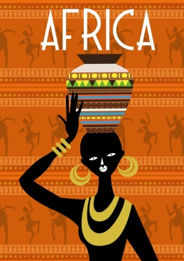 africa repeating background design tribal black woman icon