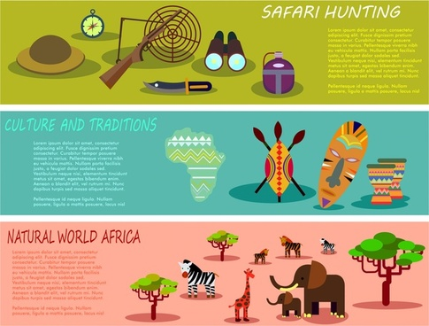 africa specifics promotion posters illustration in horizontal style