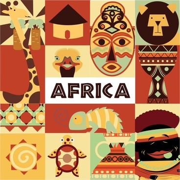 africa symbols isolated with colorful design