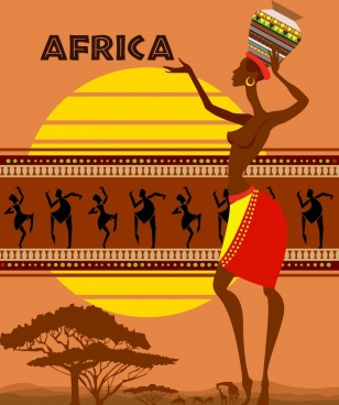 africa tribal background grassland icon dancing human decor