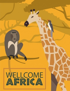 africa welcome banner monkey giraffe bird icons ornament