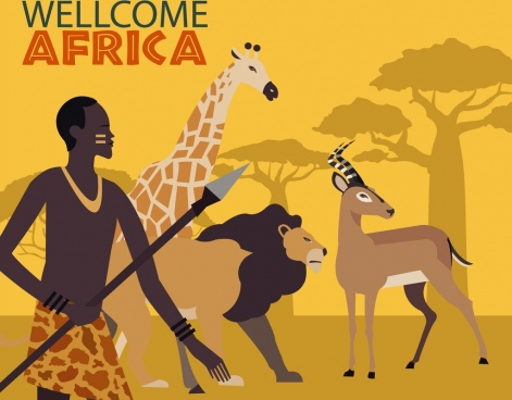 africa welcome banner tribal human wild animals decor