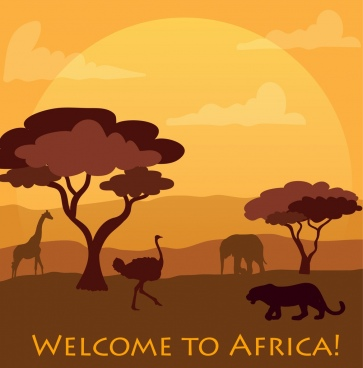 africa welcoming banner cartoon silhouette style animals icons