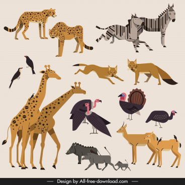 africa wild animals icons colored classical design