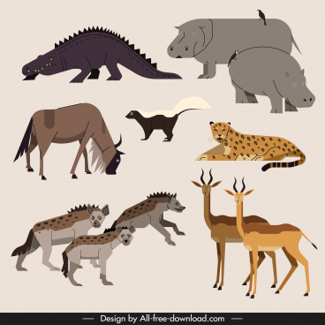 africa wild animals icons colored classical sketch