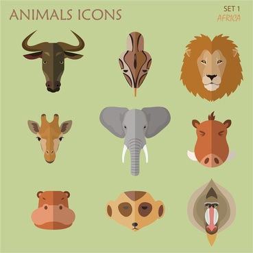 african animal icons illustration with portrait style