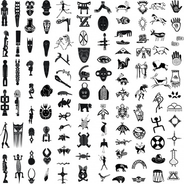 african ethnic decor elements black white symbols sketch