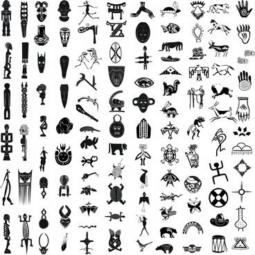 african ethnic decor elements black white symbols sketch