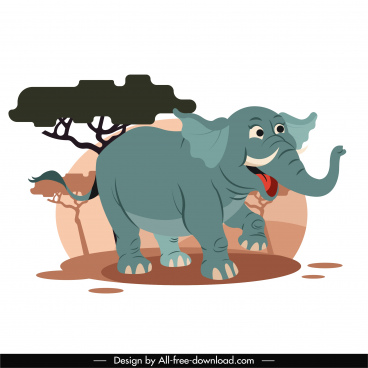 african elephant painting cute cartoon sketch