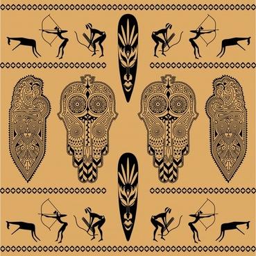 africa ethnic decor elements symmetric ancient emblems sketch