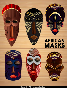 african masks templates colorful scary faces sketch