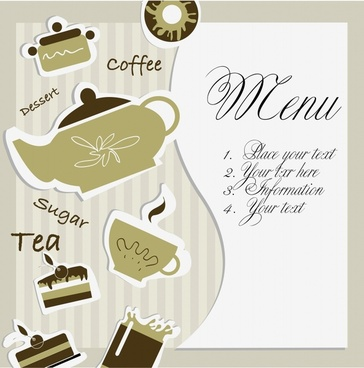 dessert menu template classic flat paper cut decor