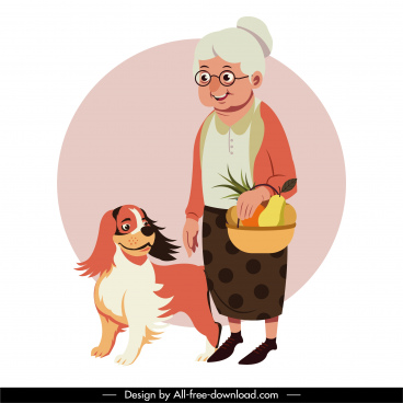 age time painting elderly woman pet sketch