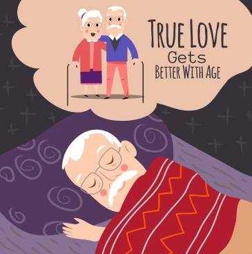 aged love background sleeping man old couple icons