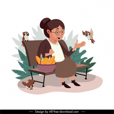 aged time painting elderly woman sketch cartoon design