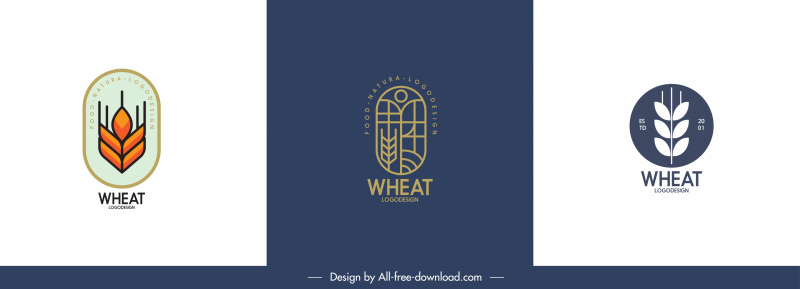 agricultural product logo templates wheat sketch flat classic