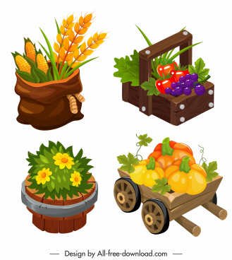 agricultural products icons colorful classic 3d sketch