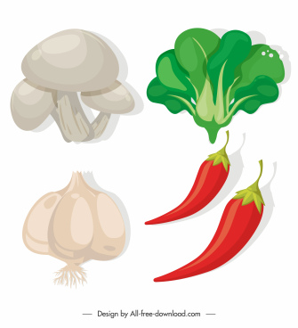 agricultural vegetables icons colored classical sketch
