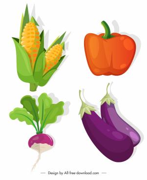 agricultural vegetables icons corn chilli eggplent beet sketch