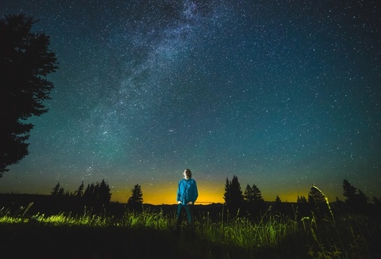 agriculture astronomy evening field galaxy grass