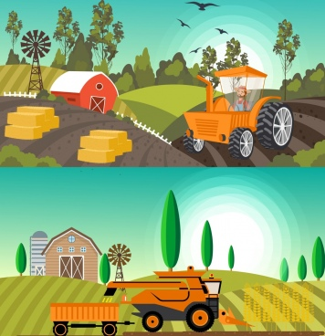 agriculture background sets machines field icons colored cartoon