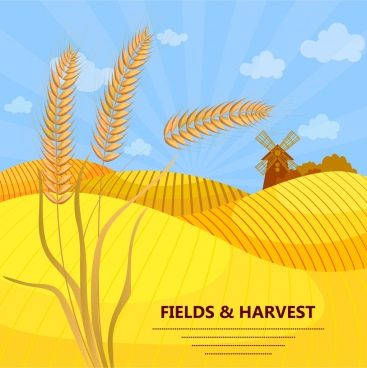 agriculture banner barley windmill yellow field icons