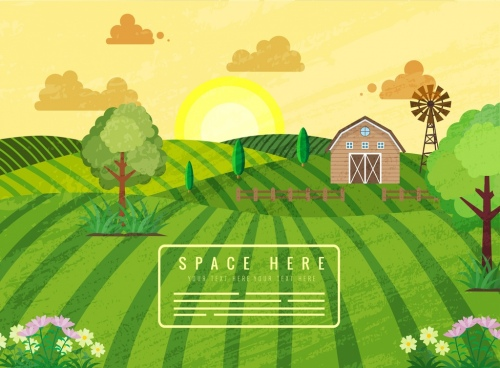 agriculture farm background field hill warehouse sun icons
