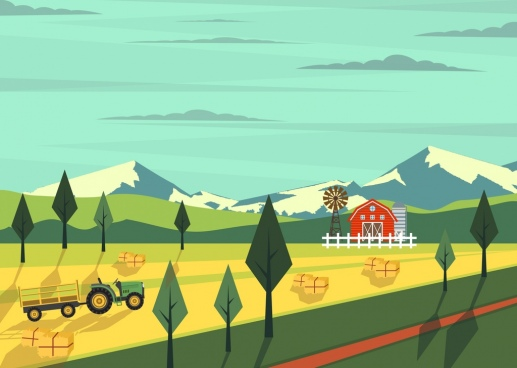 agriculture farm drawing machine warehouse icons colored cartoon