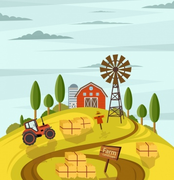 agriculture farm drawing multicolored cartoon design