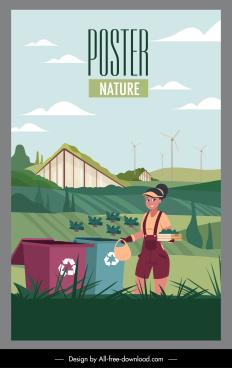 agriculture farm poster farmer field dustbin sketch