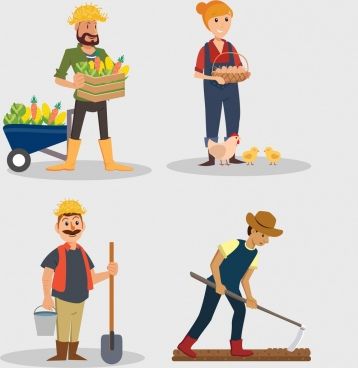 agriculture farmer icons colored cartoon design