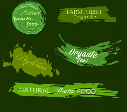 agriculture food signs collection green grunge design