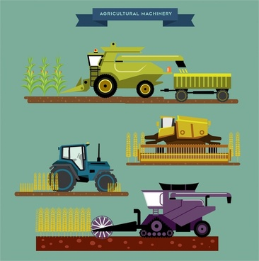 agriculture machinery sets illustration with various types
