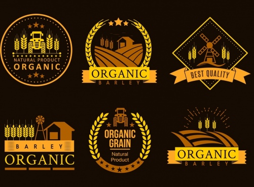 agriculture product logotypes barley field icons dark design
