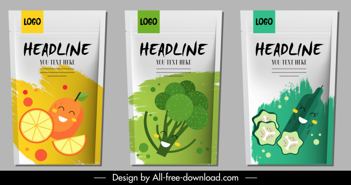 agriculture products package labels cute flat stylized design