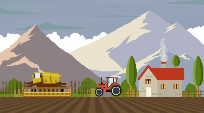 agriculture work drawing machines mountain field icons