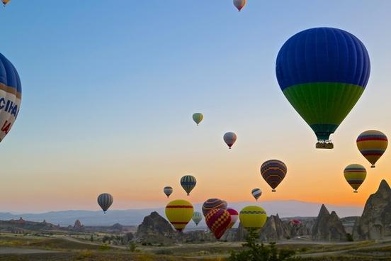 air aircraft airship ball balloon basket city color