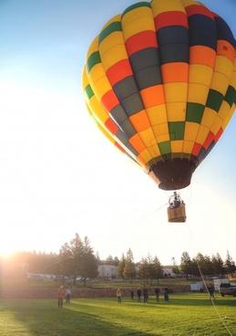 air aircraft airship balloon basket color fire