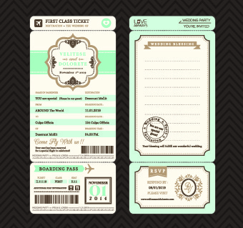 aircraft ticket design vector set