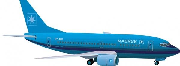 passenger airplane icon modern blue design 3d model