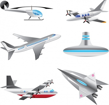 transportation icons modern aircraft submarine jet helicopter types