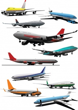 airplanes icons modern colored 3d sketch