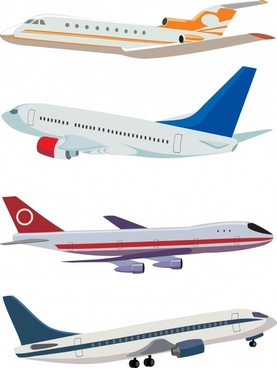 airplane models icons colored modern 3d flying sketch
