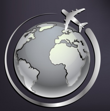 airplane background around earth ornament grey silhouette