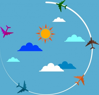 airplane background circle flying orbit colored ornament